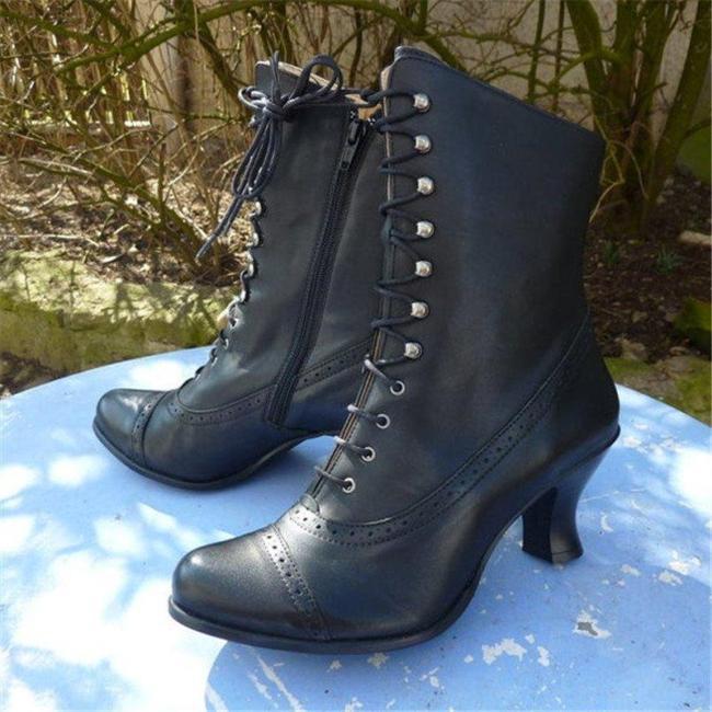 Women Casual Low Heel Zipper Pu Boots