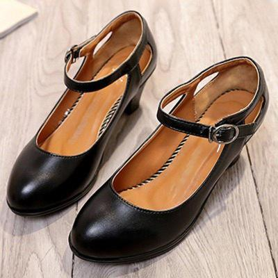 Buckle Strap Chunky Heel Artificial Leather Mary Jane Shoes