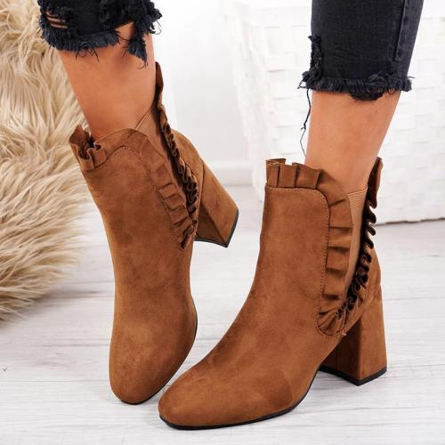 Slip-On Camel Chunky Heel Fall Faux Suede Boots