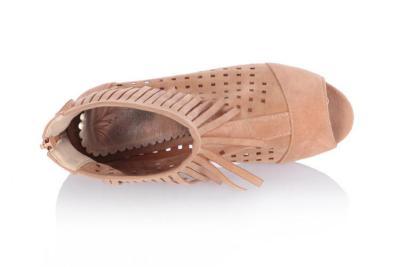 Women Peep Toe Tassel Short Boots Hollow Out Shoes 4436