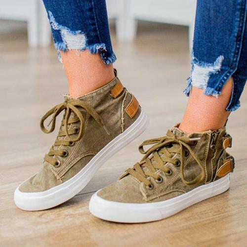 Women Round Toe Casual Lace-Up Flat Heel Sneakers