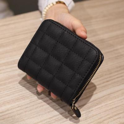 Women Short Wallets PU Leather Female Plaid Purses Nubuck Card Holder Wallet Fashion Woman Small Zipper Wallet With Coin Purse