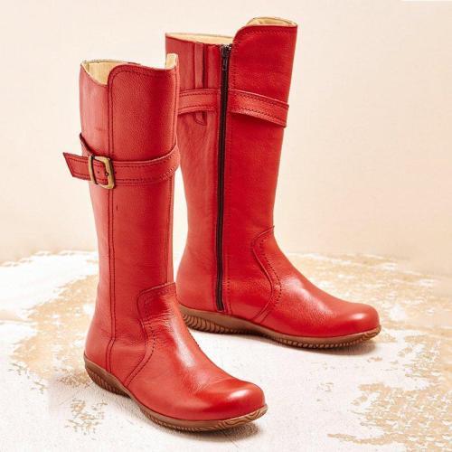 Women Winter Slip-On Buckle Knee-High Boots