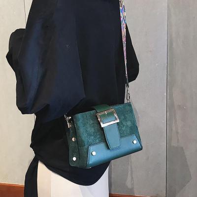 Casual Fashion Nifty Rivet Buckle Rectangle Color Belt One Shoulder Bag