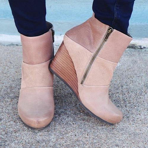 Wedge Heel Side Zipper Ankle Boots