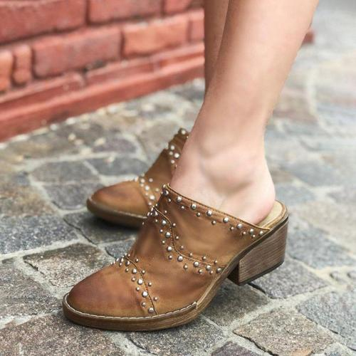 Plus Size Vintage Leather Chunky Heel Closed Toe Mule Booties