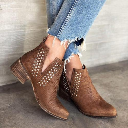 Vintage Block Heel Winter Rivet Ankle Booties Slip-On Leatherette Boots