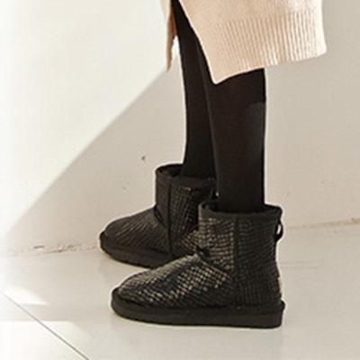 Black Waterproof Snow Boots Slip On Plus Size Winter Ankle Boots