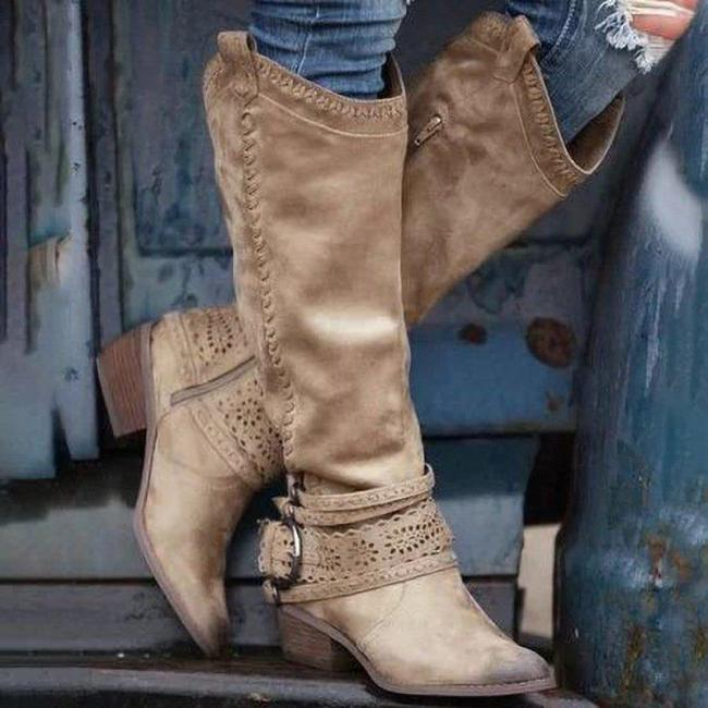 Side Zipper Pointed Toe Chunky Heel Knee Boots