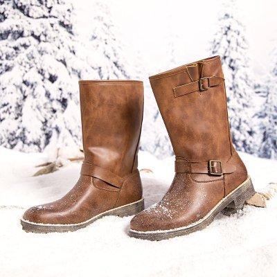 Women's  Low Heel Button vintage Boots