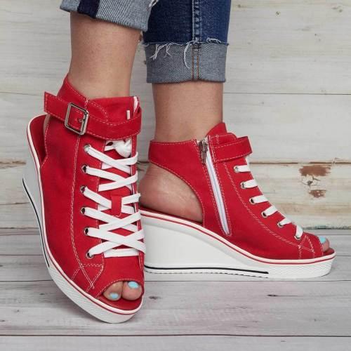 Canvas High Shoes Adjustable Buckle Peep Toe Creepers