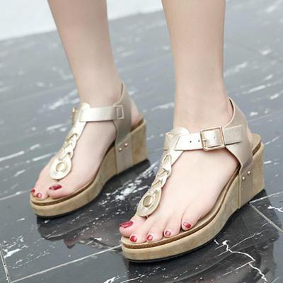 Women Comfortable Flip Flops Wedge Buckle Sandals