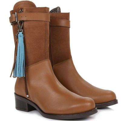 Vintage Women Tassel Mid-Calf Boots Zipper Split Joint Boots