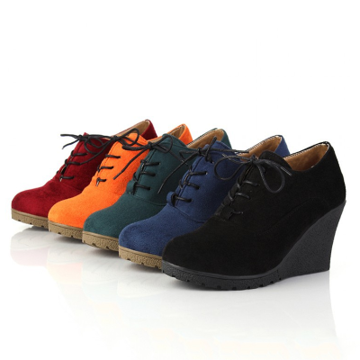Women's fashion solid suede lace-up wedges