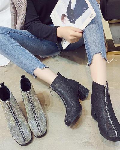 Chunky Heel Zip Chelsea Boots