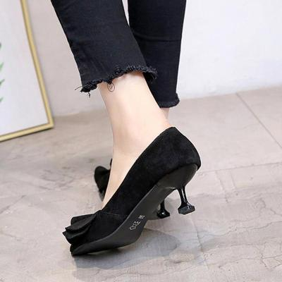 Pointed Toe Suede Ruffled Women Pumps