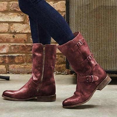 Pu Leather Buckle  Low Heel Mid Calf Zipper Boots