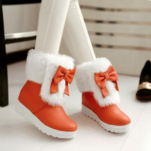 Bowtie Fur Platform Wedge Snow Boots Plus Size Women Shoes 4184