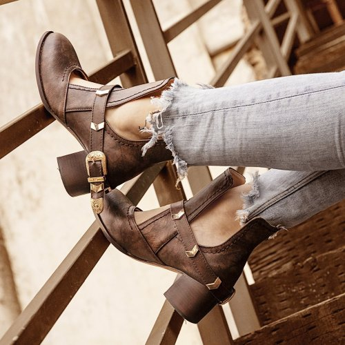 Women Winter Date Round Toe Low Heel Button Boots