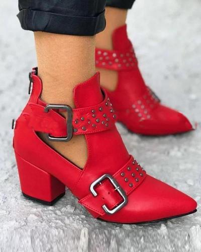 Solid Belted Chunky Heel Booties