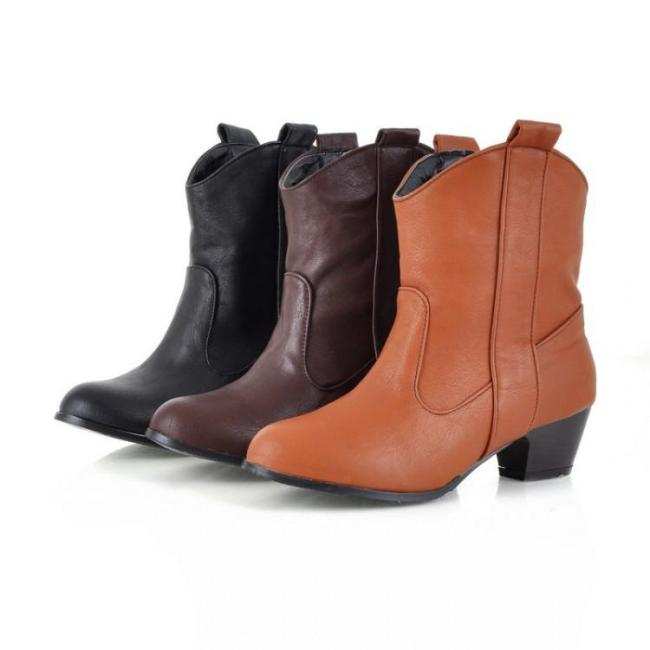 Pu Leather Chunky Heels Short Boots Plus Size Women Shoes 8201