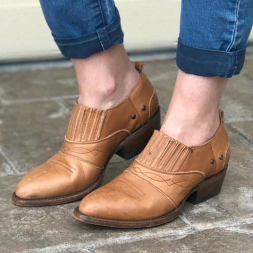 Women Vintage Fall Slip On Chunky Heel Booties