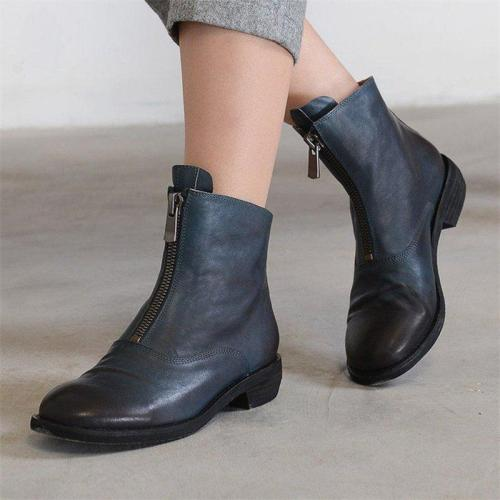 Women Casual Low Heel Zipper Comfy Ankle Boots