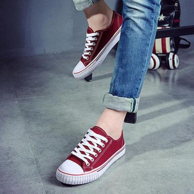 Pure Color Lace Up Casual Canvas Flat Shoes