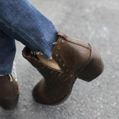 Side V Cut Chunky Heel All Season Slip On Ankle Booties