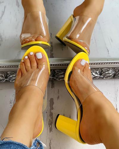 Peep Toe Transparent Chunky Heeled Sandals
