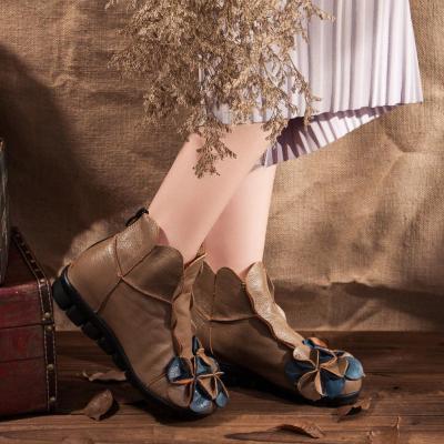Flowers Women Slip-On Ankle Boots