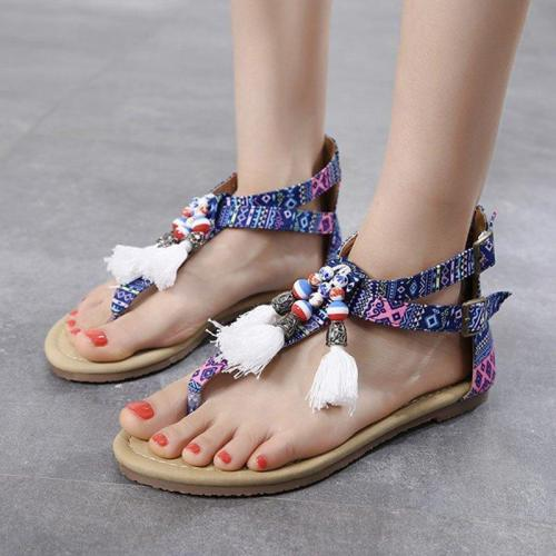 Women Casual Flat Heel Summer Tassel Boho Sandals
