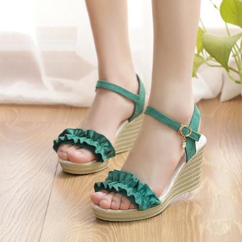Wome's Ruffles Wedge Heel Peep Toe Sandals