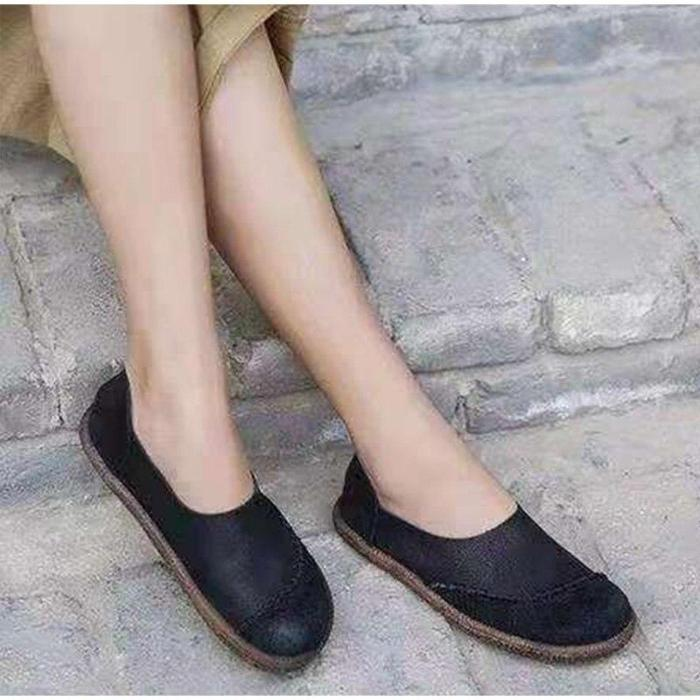 Women Autumn PU Leather Flat Shoes Ladies Slip Up Sewing Platform Heel Female Shallow Casual Comfortable Woman Loafer