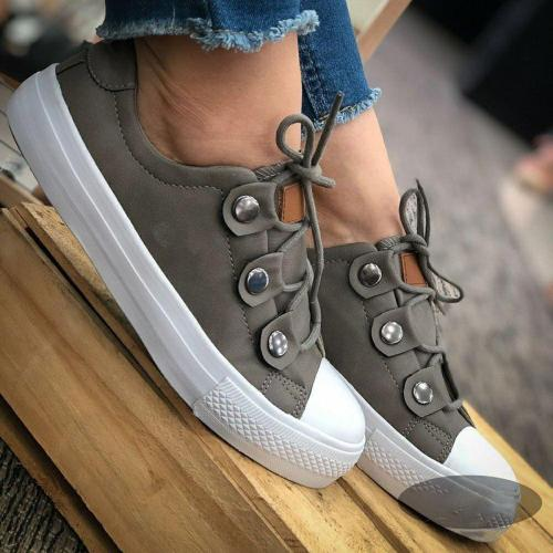 Cute Athletic Style Lace Up Flat Sneakers