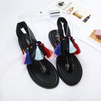 Tassel Daily Pu Flat Heel Summer Sandals