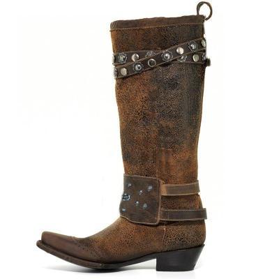 Women's Stylish Knee-High Boots Chunky Block Heel Western Cowboy Slip on Booties