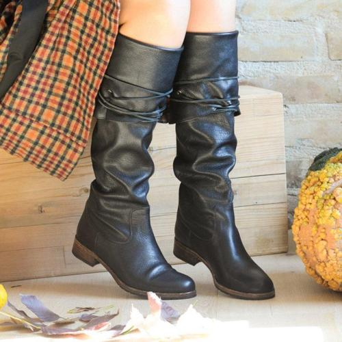 Vintage Women Fold Over Lace-Up Boots Plus Size