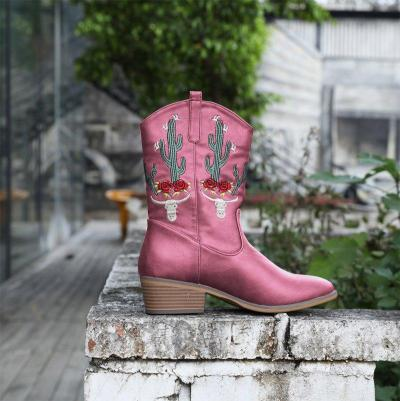 Woman Floral Embroidered Chunky Heel Cowboy Mid-Knee Boots