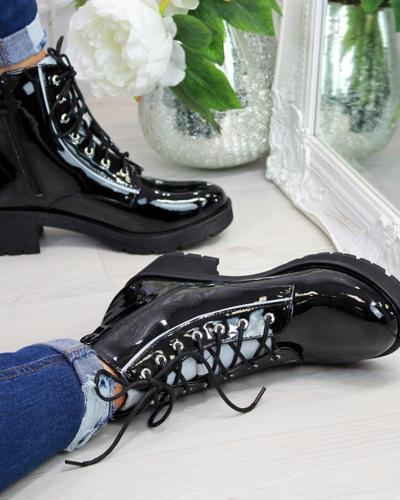 Chunky Lace-Up Biker Boots