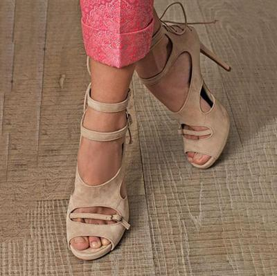 Chunky Heel Casual Pumps Shoes Lace-Up Summer Elegant Sandals