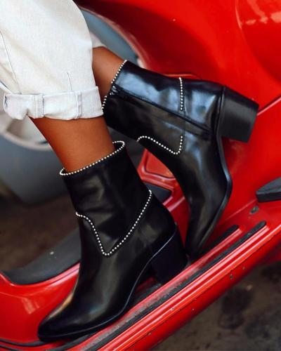 Studded Pointed Toe Chunky Boots