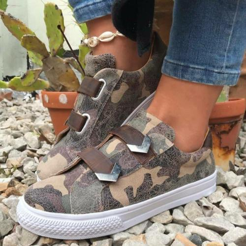 Casual Magic Tape Flat Camouflage Sneakers