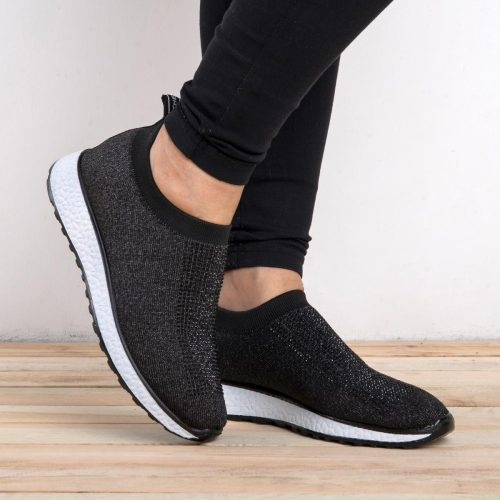 Womens Casual Rhinestone Knitted Fabric Sneakers