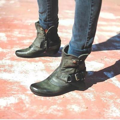 Women Vintage Daily Buckle Strap Chunky Heel Boots