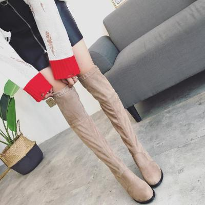 Slim Fit Flock Chunky Heeled Thigh High Boots 9019
