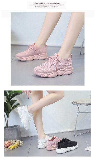 Breathable Women Casual Shoes Summer Spring Lace Up White Platform Sneakers Ladies Walking Flat Women Vulcanize Shoes New VT283