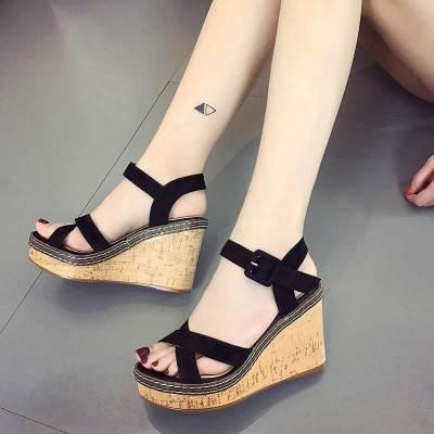 Casual shoes woman high heels women sandals 2019 new fashion solid wedges women shoes high heels buckled adult sandals women