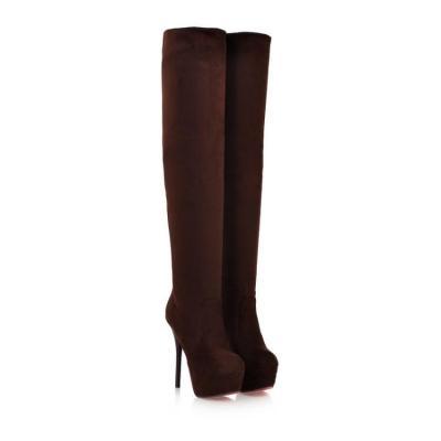 Velvet High Heels Platform Thigh High Boots for Women 9270
