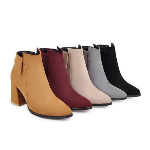 Women's Ankle Boots Chunky Heels Shoes Autumn and Winter 8132